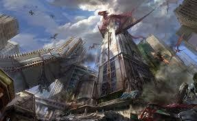التنين مدينة ناطحات سحاب تدمير عالية الدقة سطح المكتب خلفيات