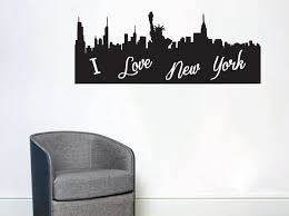 New York City Skyline Wall Decal Jets Yankees Vinyl Design Themed Sticker Vamosrayos