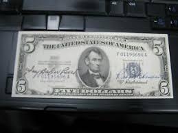 Ivy Baker Priest / Robert Anderson Treasury Dual Signed $5 1953 Silver Cert  Nice | eBay