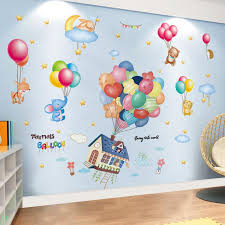 Shijuekongjian Colorful Balloons Wall Stickers Diy Cartoon House Animals Wall Decals For Kids Rooms Baby Bedroom Decoration Beach Wall Stickers Bedroom Decal From Herbertw 11 74 Dhgate Com