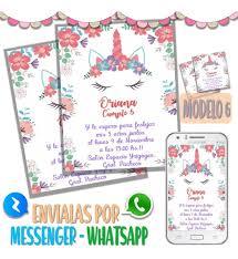 Tarjeta Invitacion Digital Cumpleanos Unicornio Whatsapp M5