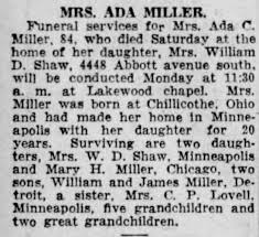 Obituary for Ada C. MILLER (Aged 84) - Newspapers.com