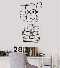 Wall Sticker Owl Vinyl Wall Decal Student College Education Books Stickers Art Study Room Wall Sticker Teens Room Wallpaper56cmx98cm Pvc Amazon Com