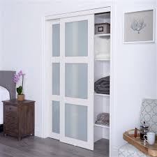 white frosted glass sliding closet door