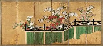 Chrysanthemums And Bamboo Fence On 6 Panel Screen By Japanese School Rimpa 19 On Artnet