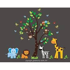 Nursery Wall Decals Baby Room Decor Wall Decals Nursery Safari Animal Wall Stickers Jungle Wall Sticker Blue Elephant Lion Decal Tall