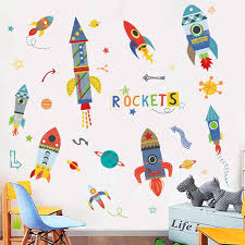 Waliicorners Diy Cartoon Rockets Painting For Baby Room Wall Sticker Kids Room Nursery Wall Decals Posters And Prints Wall Art Waliicorner S Store