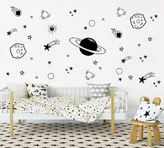 Zzmy Black Outer Space Wall Decals Y04 Star Wall Stickers Nursery Decor Boys Room Decor Vinyl Wall Decals For Children Baby Kids Boys Bedroom Planet Wall Decal Kids Furniture Decor Storage