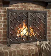 fireplace screen with two doors