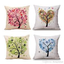 pillow case mural yellow red tree