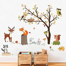 Amazon Com Decalmile Woodland Wall Decals Animals Tree Owl Fox Deer Wall Stickers Kids Bedroom Baby Nursery Wall Decor Home Kitchen