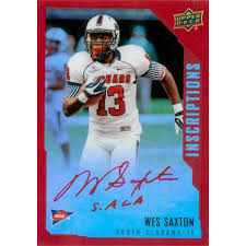 Wes Saxton autographed football card (South Alabama Jaguars) 2015 Upper  Deck Chrome Inscriptions Rookie Red Refractor #WS LE 66/149