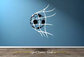Soccer Decal Net Wall Kick Game Goal Youth Child World Cup Black White Grey Close Goalie Bedroom Sport League Champion Sports Wall Decals Soccer Game Room Bar