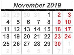 november 2019 calendar nz public