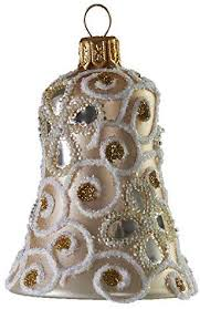 Amazon.com: Glassor Pearl Bell with Glitter Vines Christmas Ornament:  Kitchen & Dining
