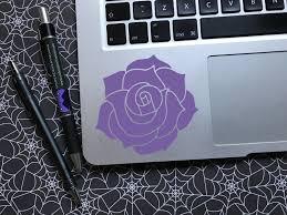 Rose Vinyl Decal Cardecals Laptop Laptopstickers Floral Rose Romance Romantic Purple Stickers Car Decals Vinyl Floral Decal Vinyl Decals