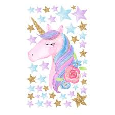 New 36 60cm Unicorn Wall Sticker Children Baby Animal Cartoon Pvc Unicorn Horns Home Decor Wall Stickers Decal Kids Bedroom Decorations Wall Decor For Baby Boy Room Wall Decals For Boys Nursery From