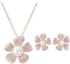 pearl pendant necklace earrings set