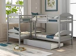 Amazon Com Twin Over Twin L Shape Bunk Bed Loft Bed With Trundle For Kids Adult Wood Corner Bunk Bed Frame Mattress Foundation 5 Beds With Full Length Guardrail And Flat Ladder No