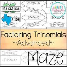 factoring polynomials trinomials maze