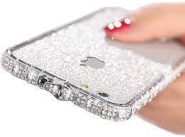 Amazon Com Iphone 6s Plus Sparkly Skin Decal Bling Glitter Precise Skin Sticker With Iphone 6 Plus Metal Frame Rhinestones Bumper Case Full Body Coverage Wrap Cover For Girls Women Silver Iphone 6s