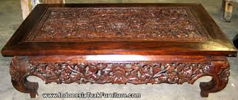 carved wood coffee table from bali