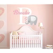 Amazon Com Custom Elephant Name Wall Decal For Girls Baby Room Decor Nursery Wall Decals Elephant Wall Decor Vinyl Sticker Baby