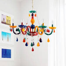 Multicolored 6 Bulb Chandelier In Crystal Accent Style For Kids Bedroom With Adjustable Chain Takeluckhome Com