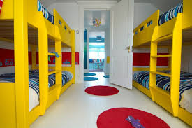 Navy Blue Bed Sheets Modern Kids Also Area Rug Bunk Beds Childrens Bedroom Color Custom Door Red Round Rug Rug White Floor White Painted Floor Yellow Yellow Bunk Bed Finefurnished Com