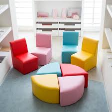 Kinbor Kids Sectional Sofa Preschool Chairs With Stool Foam Play Set For Toddlers Activity Table Children Kids Table Chair Set Kids Table And Chairs Foam Sofa