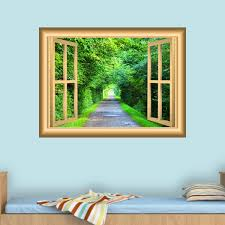 East Urban Home 3d Forest Scenic Window Wall Decal Wayfair