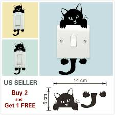 Black Cute Cat Light Switch Vinyl Sticker Wall Decal Home Decoration Removable For Sale Online Ebay