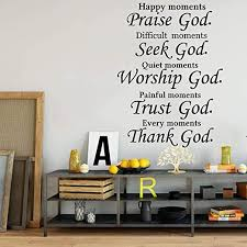 Amazon Com Wall Stickers Murals Christian Praise Seek God Quote Wall Decal Bedroom Living Room Bible Verse Religion Trust Worship Thank God Wall Sticker Vinyl 77x56cm Kitchen Dining