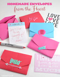 homemade envelope with a heart shape
