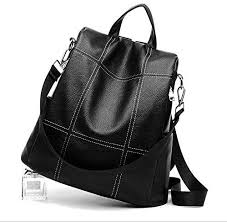 faux leather anti theft backpack womens