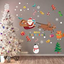 Amazon Com Anber Christmas Tree Snowman Santa Claus Snowflake Sticker Peel Stick Decals Removable Vinyl Wall Decals Window Xmas Self Adhesive Holiday Home Decoration Home Kitchen
