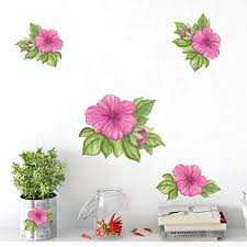 Amazon Com Create A Mural Hibiscus Flower Watercolor Wall Decal Stickers Beautiful Room Decor Wall Accent Removable Peel And Stick Room Decor Kitchen Dining