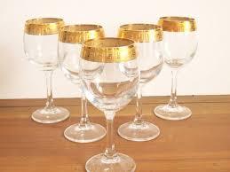 gold rimmed wine glasses vintage