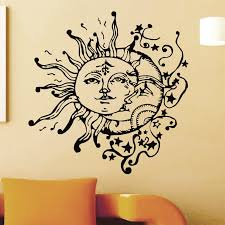 Creative Special Wall Decals Home Livingroom Cool Unique Decor Vinyl Wall Sticker Sun Moon Doubled Face Patterned Mural Wm 551 Vinyl Wall Stickers Wall Stickerwall Sticker Sun Aliexpress