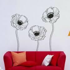 I174 Wall Decal Sticker Poppy Flowers Plants Nature Ecology Beauty Tattoo Yard Ebay