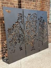 Wispy Tree Metal Privacy Screen Decorative Panel Outdoor Garden Fence Art In 2020 Garden Fence Art Fence Art Decorative Screen Panels