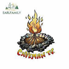 Earlfamily 13cm X 9 9cm For Caveman Tv Bonfire Windshield Rv Car Sticker Personality Trunk Decal Laptop Cartoon Vinyl Car Wrap Car Stickers Aliexpress