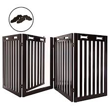 Arf Pets Free Standing Wood Dog Gate With Walk Through Door Expands Up To 80 Wide 31 5 High Bonus Set Of Foot Supporters On Galleon Philippines