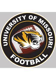 Missouri Tigers 6x6 Circle Football Auto Decal Black 8032393