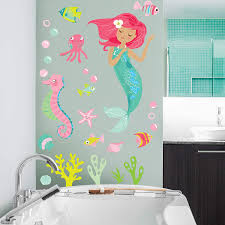 Amazon Com Wallies Vinyl Wall Decals Mermaid Wall Sticker For Girls Bedroom Or Bathroom 26 Pc Home Kitchen