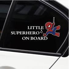 Little Superhero Car Stickers Baby On Board Sticker Kidsbaron