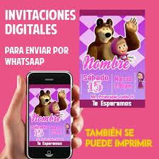 Tarjetas De Invitacion Whatsaap Cumpleanos Masha Y El Oso