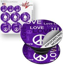 Decal Style Vinyl Skin Wrap 3 Pack For Popsockets Love And Peace Purple
