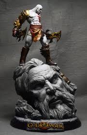ᗖdhl Ems 26cm Gk God Of War 3 Kratos On Zeus Head Resin Figure Statue Fans Collection A187