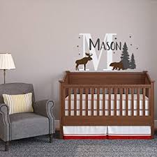 Amazon Com Custom Baby Name Wall Decal With Moose Bear Woodland Nursery Decor Personalized Name Wall Decal Boy Forest Nursery Vinyl Decal Boys Name Home Kitchen